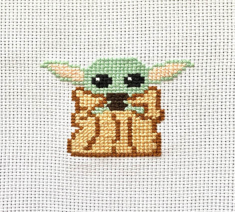 Completed Baby Yoda Cross Stitch